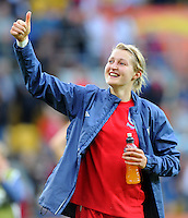 Ellen White of team England celebrates during the FIFA Women's World Cup at the FIFA Stadium in Dresden, Germany on July 1st, 2011.