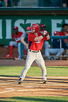 Morgan McCullough (18) of the Orem Owlz at bat against the Ogden Raptors at Lindquist Field on July 27, 2019 in Ogden, Utah. The Raptors defeated the Owlz 14-1. (Stephen Smith/Four Seam Images)
