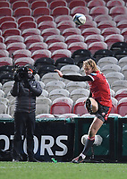 12th February 2021; Kingsholm Stadium, Gloucester, Gloucestershire, England; English Premiership Rugby, Gloucester versus Bristol Bears; Billy Twelvetrees of Gloucester kicks a conversion