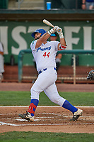David Maberry (44) of the Ogden Raptors at bat against the Grand Junction Rockies at Lindquist Field on June 5, 2021 in Ogden, Utah. The Raptors defeated the Rockies 18-1. (Stephen Smith/Four Seam Images)
