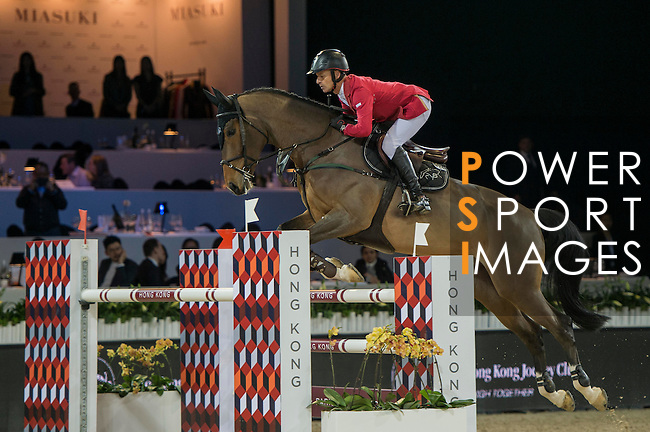 Pius Scwhizer of Switzerland riding Leonard de la Ferme CH during the Hong Kong Jockey Club Trophy competition, part of the Longines Masters of Hong Kong on 10 February 2017 at the Asia World Expo in Hong Kong, China. Photo by Marcio Rodrigo Machado / Power Sport Images