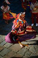 Spinning demon dancer at the Prakhar Lhakhang festival, Bumthang, Bhutan
