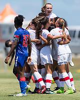 Bradenton, FL - Sunday, June 12, 2018: Canada, goal celebrateion, Julianne Vallerand prior to a U-17 Women's Championship 3rd place match between Canada and Haiti at IMG Academy. Canada defeated Haiti 2-1.