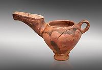 "Vasiliki Ware ""teapot"" with elongated spot and characteristic mottled decorations,  Vasiliki 2300-1900 BC BC, Heraklion Archaeological  Museum, grey background."