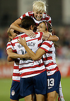 Commerce City, Colorado - Wednesday September 19, 2012; The US WNT defeated the National team of Australia 6-2 during an International friendly game at Dick's Sporting Goods Park.  Abby Wambach (14) of the USWNT celebrates her goal off an assist by Alex Morgan against Australia.