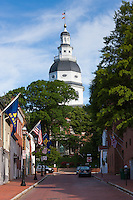 A view up Francis Street to the dome of Maryland State House in Annapolis, Maryland.