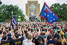 Sept. 5, 2014; Pep rally before the game against Michigan. (Photo by Barbara Johnston/ University of Notre Dame)