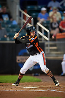 Aberdeen IronBirds designated hitter Willy Yahn (6) at bat during a game against the Staten Island Yankees on August 23, 2018 at Leidos Field at Ripken Stadium in Aberdeen, Maryland.  Aberdeen defeated Staten Island 6-2.  (Mike Janes/Four Seam Images)