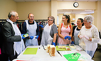 Pictured L-R: AM for Swansea East Mike Hedges, Deputy Council Leader Clive Lloyd, MP Carolyn Harris, Linzi Isaac, Emma Thatcher and and Cynthia Lloyd prepare cheese sandwiches at Jersey Park Pavilion in Swansea, UK. Friday 25 August 2017<br /> Re: Free food for children story, Swansea, Wales, UK.