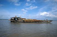 CAMBODIA, River Mekong, transport of timber on river freight ships / KAMBODSCHA, Fluss Mekong, Transport von Tropenholz auf Flussschiffe