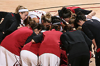 STANFORD, CA - DECEMBER 13:  JJ Hones, Jayne Appel, Nnemkadi Ogwumike, Sarah Boothe, Jillian Harmon, Michelle Harrison and the team huddle during Stanford's 100-62 win over the Fresno State Bulldogs on December 13, 2008 at Maples Pavilion in Stanford, California.