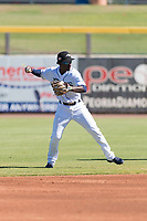 Peoria Javelinas shortstop Lucius Fox (5), of the Tampa Bay Rays organization, throws to first base during an Arizona Fall League game against the Scottsdale Scorpions at Peoria Sports Complex on October 18, 2018 in Peoria, Arizona. Scottsdale defeated Peoria 8-0. (Zachary Lucy/Four Seam Images)