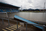 Carlisle, 09/12/2015. Brunton Park. Flooding on the pitch at Brunton Park, home of Carlisle United Football Club. Record rain fall in Cumbria caused flooding to several areas of Carlisle, causing houses to be evacuated by emergency services. Photo by Colin McPherson.