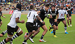 Rieko Ioane carries the ball, Charlie Ngatai supports. Maori All Blacks vs. Fiji. Suva. July 11, 2015. Photo: Marc Weakley