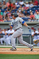 Biloxi Shuckers outfielder Tyrone Taylor (15) at bat during the second game of a double header against the Pensacola Blue Wahoos on April 26, 2015 at Pensacola Bayfront Stadium in Pensacola, Florida.  Pensacola defeated Biloxi 2-1.  (Mike Janes/Four Seam Images)