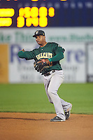 Lynchburg Hillcats second baseman Claudio Bautista (10) throws to first base during a game against the Wilmington Blue Rocks on June 3, 2016 at Judy Johnson Field at Daniel S. Frawley Stadium in Wilmington, Delaware.  Lynchburg defeated Wilmington 16-11 in ten innings.  (Mike Janes/Four Seam Images)