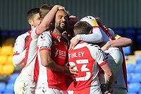 Fleetwood players congratulate Barrie McKay after scoring their opening goal during AFC Wimbledon vs Fleetwood Town, Sky Bet EFL League 1 Football at Plough Lane on 5th April 2021