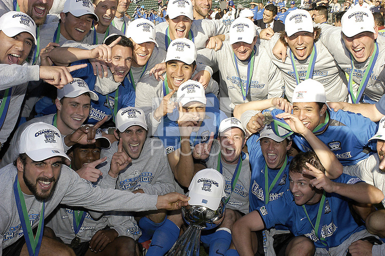 San Jose Earthquakes celebrate a 4-2 vicotry over the Chicago Fire in the MLS Cup Championship, in Carson, Calif.