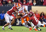 Alabama's Anthony Averett (28) and Ronnie Harrison (15) bring down Clemson tight end Jordan Leggett in the second half of the 2017 College Football Playoff National Championship in Tampa, Florida on January 9, 2017.  Clemson defeated Alabama 35-31. Photo by Mark Wallheiser/UPI