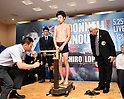 Ganigan Lopez and Ken Shiro attend official weigh-in for WBC light flyweight title boxing bout