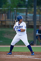 AZL Dodgers designated hitter Alvaro Rubi (18) at bat against the AZL Brewers on July 25, 2017 at Camelback Ranch in Glendale, Arizona. AZL Dodgers defeated the AZL Brewers 8-3. (Zachary Lucy/Four Seam Images)