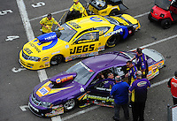 Mar. 9, 2012; Gainesville, FL, USA; NHRA pro stock driver Vincent Nobile (near) and Jeg Coughlin during qualifying for the Gatornationals at Auto Plus Raceway at Gainesville. Mandatory Credit: Mark J. Rebilas-