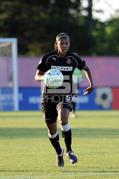 Candace Chapman (5) of the Western New York Flash. The Western New York Flash defeated Sky Blue FC 4-1 during a Women's Professional Soccer (WPS) match at Yurcak Field in Piscataway, NJ, on July 30, 2011.