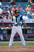 Syracuse Chiefs outfielder Rick Hague (6) at bat during a game against the Pawtucket Red Sox on July 6, 2015 at NBT Bank Stadium in Syracuse, New York.  Syracuse defeated Pawtucket 3-2.  (Mike Janes/Four Seam Images)