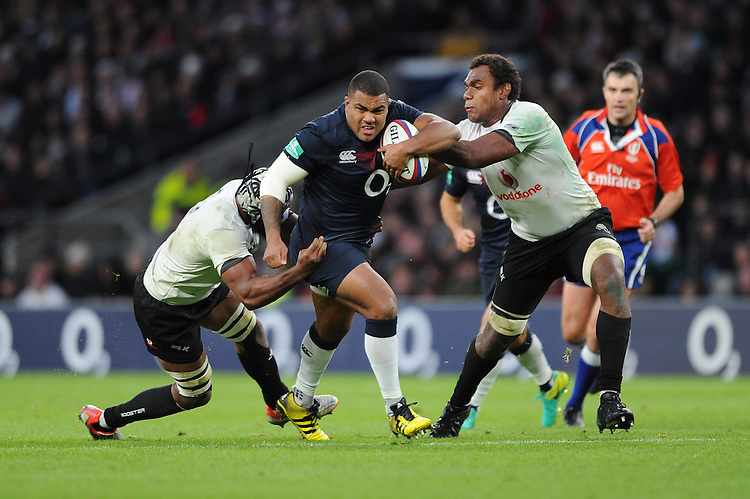 Kyle Sinckler of England drives forward during the Old Mutual Wealth Series match between England and Fiji at Twickenham Stadium on Saturday 19th November 2016 (Photo by Rob Munro)