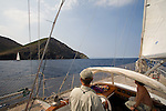 ketch Lady Be Good rounding Cape Corse, Cap Corse, West Coast Corsica, Corsica, France, sailing the Mediterranean, Corsican coast,