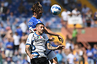 Kristoffer Askildsen of UC Sampdoria and Stefano Sensi of FC Internazionale compete for the ball during the Serie A football match between UC Sampdoria and FC Internazionale at stadio Marassi in Genova (Italy), September 12th, 2021. Photo Image Sport / Insidefoto