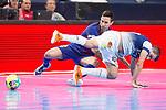 Barcelona Lassa Joao Batista and R. Renov. Zaragoza Carlos Retamar during Futsal Spanish Cup 2018 at Wizink Center in Madrid , Spain. March 16, 2018. (ALTERPHOTOS/Borja B.Hojas)