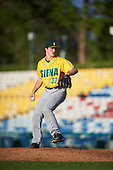 Siena Saints relief pitcher Danny Hobbs (33) delivers a pitch during a game against the Pittsburgh Panthers on February 24, 2017 at Historic Dodgertown in Vero Beach, Florida.  Pittsburgh defeated Siena 8-2.  (Mike Janes/Four Seam Images)