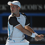 January 25, 2010.Nikolay Davydenko of Russia, in action, defeating Fernando Verdasco of Spain, 6-2, 7-6, 4-6, 6-7, 6-3 in the fourth round of The Australian Open, Melbourne Park, Melbourne, Australia.