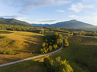 Scenic view of a country farm field above Nelson County, Va.  Photo/Andrew Shurtleff