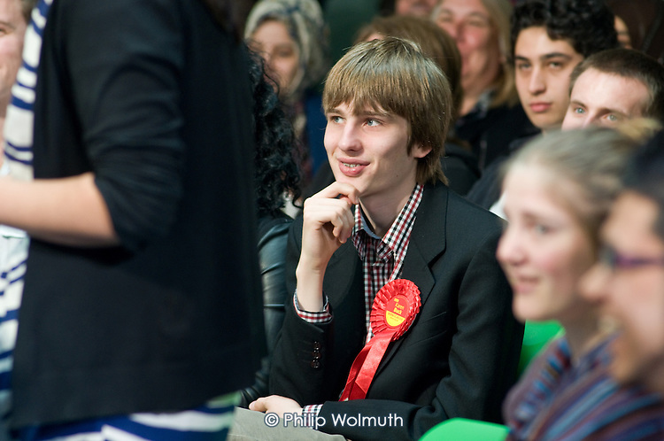 Young Labour supporter, launch of Labour's Green Manifesto, Westminster Academy, Labour General Election Campaign, London