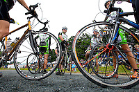 Bikers wait to compete during the 52nd Annual Grandfather Mountain Highland Games in Linville, NC.