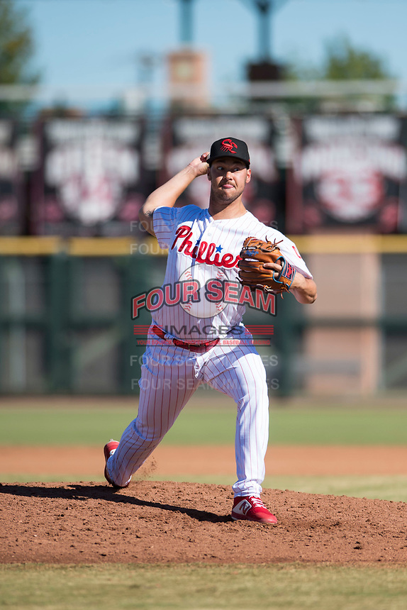 Scottsdale Scorpions relief pitcher Luke Leftwich (44), of the Philadelphia Phillies organization, delivers a pitch during an Arizona Fall League game against the Mesa Solar Sox at Scottsdale Stadium on November 2, 2018 in Scottsdale, Arizona. The shortened seven-inning game ended in a 1-1 tie. (Zachary Lucy/Four Seam Images)
