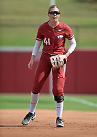 Arkansas first baseman Danielle Gibson prepares for the pitch Saturday, Oct. 9, 2021, during play against Butler Community College at Bogle Park in Fayetteville. Visit nwaonline.com/211010Daily/ for today's photo gallery.<br /> (NWA Democrat-Gazette/Andy Shupe)