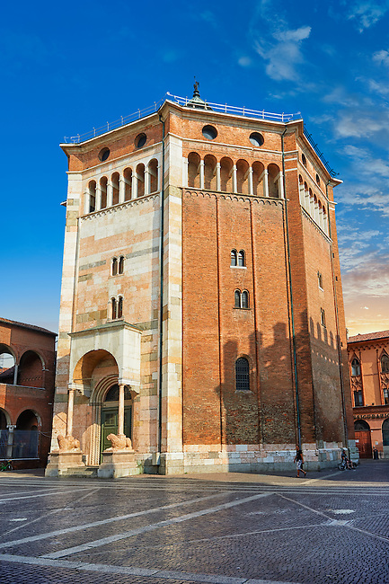 Romanesque Baptistry  of the Romanesque Cathedral of Cremona, begun 1107, with later Gothic, Renaissance & Baroque elements, Cremona, Lombardy, northern Italy