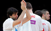 Serbia's Milos Teodosic celebrate during European basketball championship, round of 16 basketball match between Serbia and Finland on September 13, 2015 in Lille, France  (credit image & photo: Pedja Milosavljevic / STARSPORT)