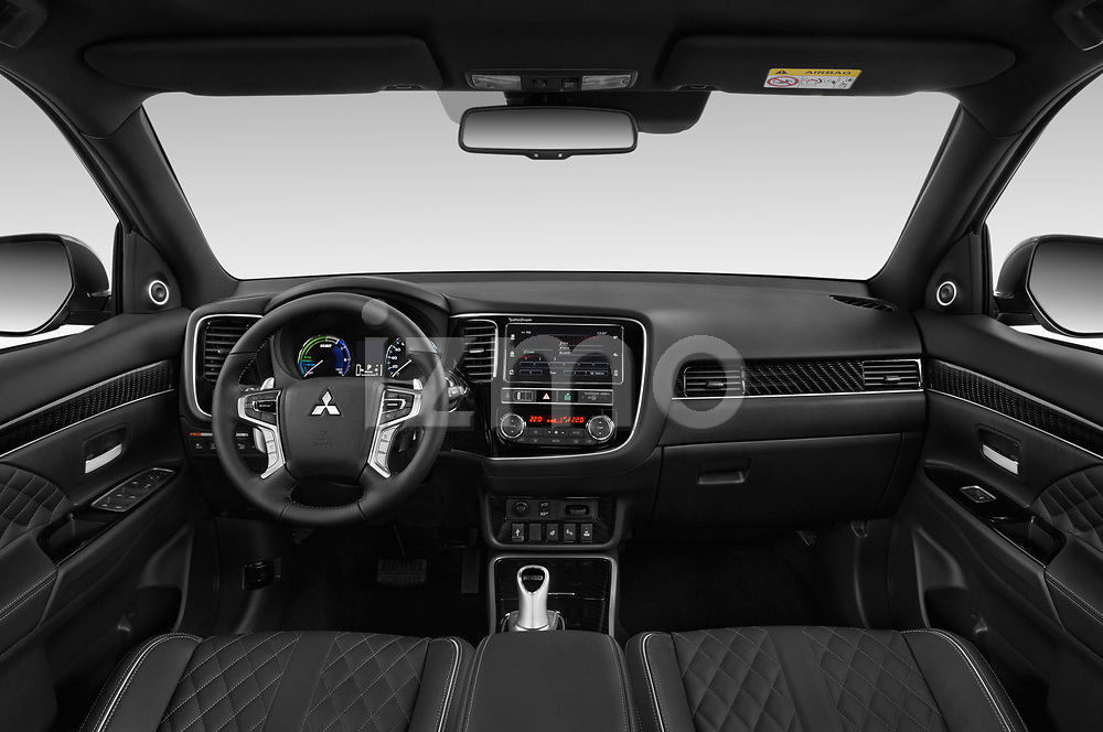 Stock photo of straight dashboard view of a 2019 Mitsubishi Outlander PHEV Instyle 5 Door SUV