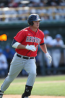Bobby Dalbec (3) of the Arizona Wildcats runs to first base during a game against the UCLA Bruins at Jackie Robinson Stadium on May 16, 2015 in Los Angeles, California. UCLA defeated Arizona, 6-0. (Larry Goren/Four Seam Images)