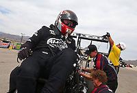 Mar 29, 2014; Las Vegas, NV, USA; NHRA top fuel driver Shawn Langdon during qualifying for the Summitracing.com Nationals at The Strip at Las Vegas Motor Speedway. Mandatory Credit: Mark J. Rebilas-
