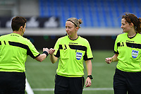 referee Lois Otte (middle) pictured with Ella De Vries and Joline Delcroix (r) during a female soccer game between Club Brugge Dames YLA and Oud Heverlee Leuven on the 8 th matchday of the 2020 - 2021 season of Belgian Scooore Womens Super League , saturday 21 th November 2020  in Knokke , Belgium . PHOTO SPORTPIX.BE | SPP | DAVID CATRY