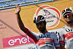 Sprinters Fernando Gaviria (COL) and Alexander Kristoff (NOR) UAE Team Emirates at sign on before the start of the 111th edition of Milan- San Remo 2020, running 305km from Milan to San Remo, Italy. 8th August 2020.<br /> Picture: LaPresse/Gian Mattia D'Alberto | Cyclefile<br /> <br /> All photos usage must carry mandatory copyright credit (© Cyclefile | LaPresse/Gian Mattia D'Alberto)