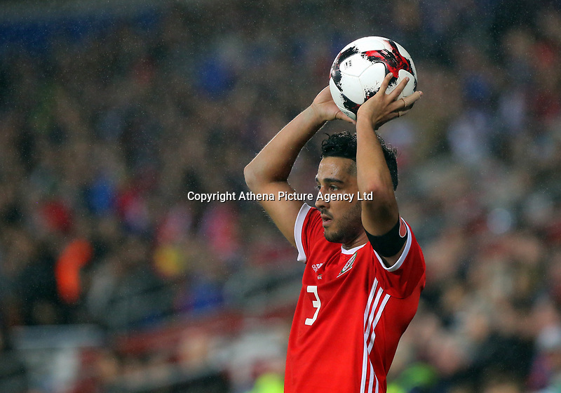 Neil Taylor of Wales takes a throw in during the international friendly soccer match between Wales and Panama at Cardiff City Stadium, Cardiff, Wales, UK. Tuesday 14 November 2017.