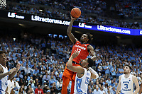 CHAPEL HILL, NC - JANUARY 11: Tevin Mack #13 of Clemson University shoots a jump shot in the lane during a game between Clemson and North Carolina at Dean E. Smith Center on January 11, 2020 in Chapel Hill, North Carolina.