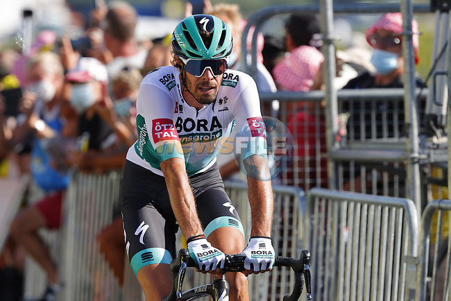 Daniel Oss (ITA) Bora-Hansgrohe crosses the finish line at the end of Stage 10 of Tour de France 2020, running 168.5km from Ile d'Oléron to Ile de Ré, France. 8th September 2020.<br /> Picture: Bora-Hansgrohe/BettiniPhoto | Cyclefile<br /> All photos usage must carry mandatory copyright credit (© Cyclefile | Bora-Hansgrohe/BettiniPhoto)