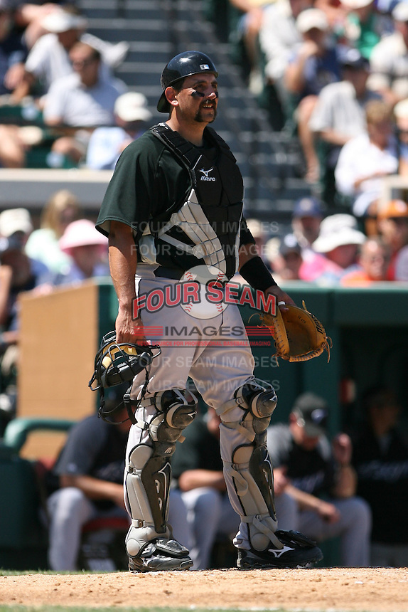 March 21st 2008:  Sal Fasano of the Toronto Blue Jays during Spring Training at Joker Marchant Stadium in Lakeland, FL.  Photo by:  Mike Janes/Four Seam Images